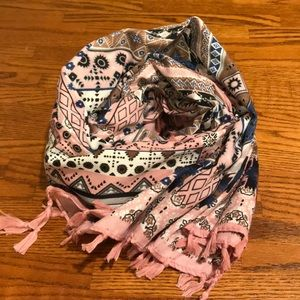 Accessories - Pink Tasseled Square Scarf